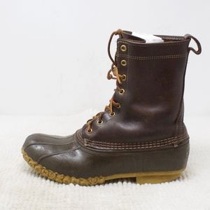 LL Bean 10 Inch Brown Leather Duck Boots Size 9